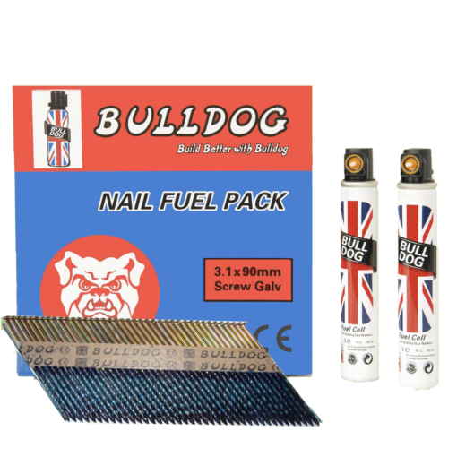 3.1 X 90mm Screw Electro Galvanised Pack Of 2200 Nails and 2 Gas Cells