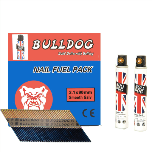 3.1 x 90mm Smooth Electro Galvanized Pack of 2200 Nails and 2 Gas Cells