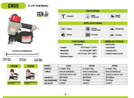 """Meite CN55 2 1/4"""" Coil Nailer Specifications"""