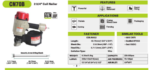 """Meite CN70B 2 3/4"""" Coil Nailer Specifications"""